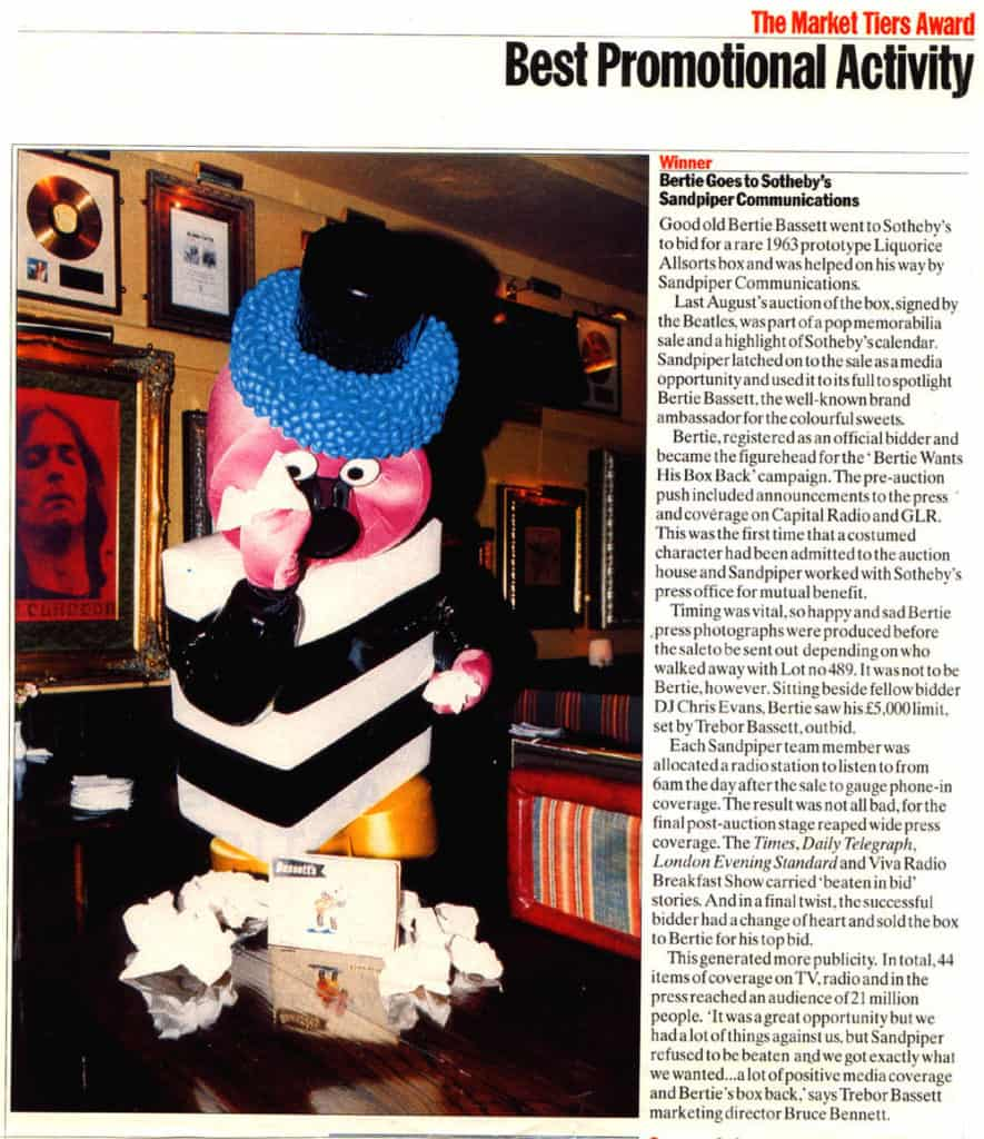 Bertie Goes to Sotheby's - winner of PRWeek Best Promotional Campaign