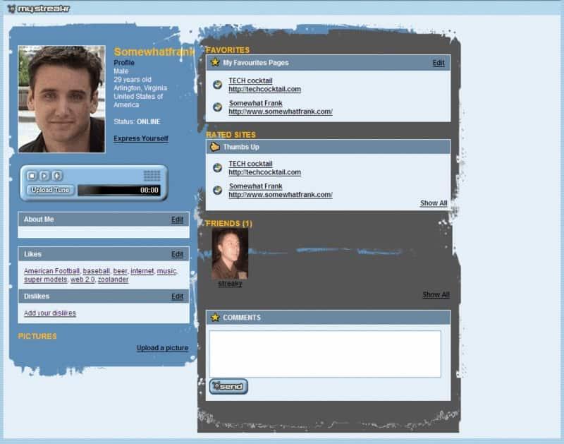 Streakr, social bookmarking website