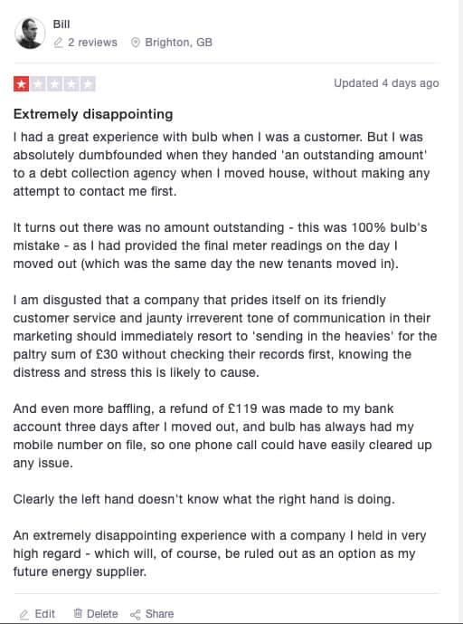 My complaint about bulb energy on Trustpilot
